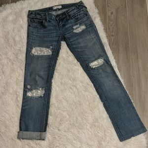 Free People Distressed Lace Sequin Skinny Jeans